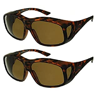 Men and Women Unisex Polarized Fit Over Sunglasses - Wear Over Prescription Glasses. Size Large. (2 Pair) Tortoise (2 Carrying Case Included)