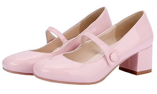 On Solid Pink Toe Patent Court WeenFashion Closed Pull Shoes Leather Square Women's 0W8q6