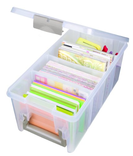 ArtBin 6925AB Semi Satchel Box - Clear, Plastic Art and Craft Supplies Box with Gold Dividers, Handle and Latch from ArtBin
