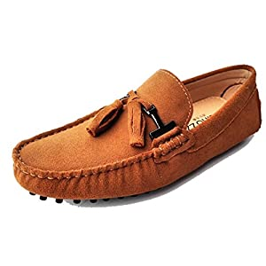 TDA Men's New Tassel Sunlight tan Suede Driving Loafers Penny Boat Shoes 10.5 M US