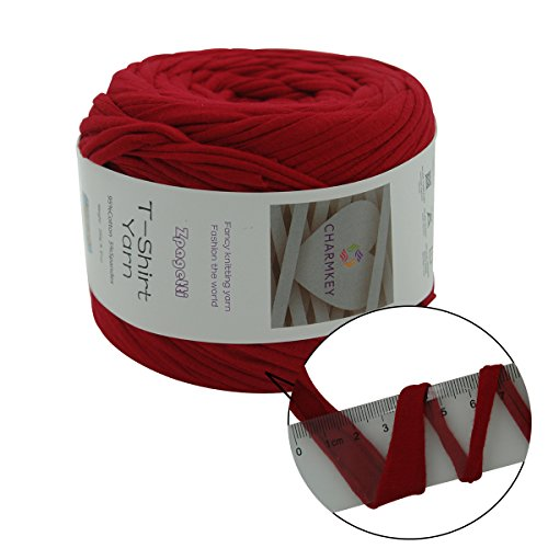 Charmkey Zpagetti T Shirt Yarn Strong Recycled Cotton Blend Ribbon 6 Super Chunky Elastic Knitting Cloth Fabric for Bag Cushion and DIY Crocheting Projects, 1 Skein, 8.82 Ounce (Dairy Cow)