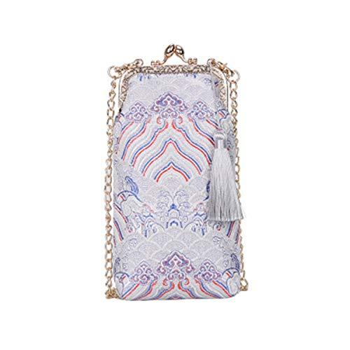 Purse Wedding BeautyWJY Silk Evening Clutch for Vintage Handbag Silver Tassel Women's Bridal Embroidery RURq6