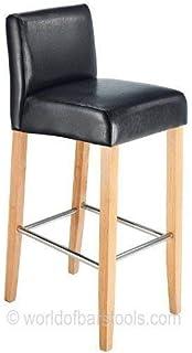 Astounding Atlantic Shopping Jasper Leather Bar Stool Oak Black Andrewgaddart Wooden Chair Designs For Living Room Andrewgaddartcom