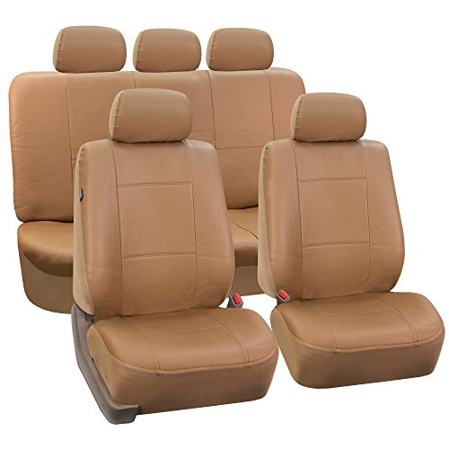 Beige Leather Set - FH Group PU002TAN115  Beige Faux Leather Seat Cover (Full Set Airbags Compatible and Split Bench Cover)
