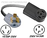 10-50P 3-Pin Male Plug To 14-30R 4-Prong Female Receptacle Receptacle Socket Outlet, 220/250V Dryer Stove Range Oven Electrical Power Cord Adapter/Convert. FX858-2