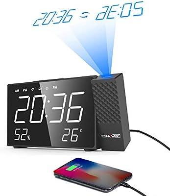 ESHOWEE Despertador Proyector Digital, Reloj de Proyección de ...