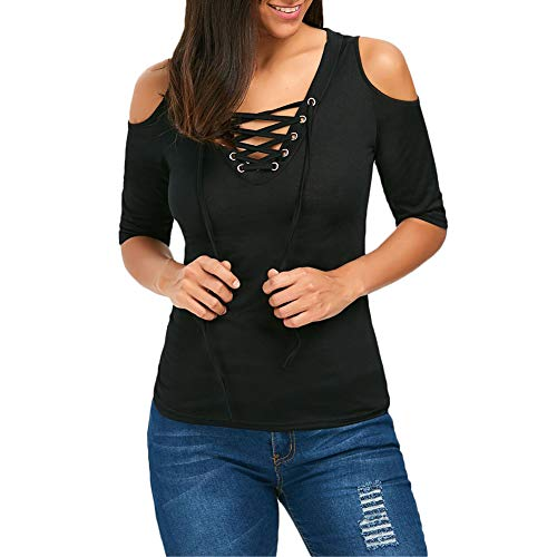 Top 1/2 Sleeve (lisenraIn Women's Cold Shoulder Lace up V Neck Tops Sexy Casual 1/2 Sleeve Blouse T Shirt (Black, L))