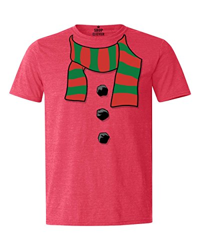 Jingle Bell Rock Costume (Shop4Ever Snowman Scarf Costume T-shirt Christmas Shirts Medium Heather Red17501)