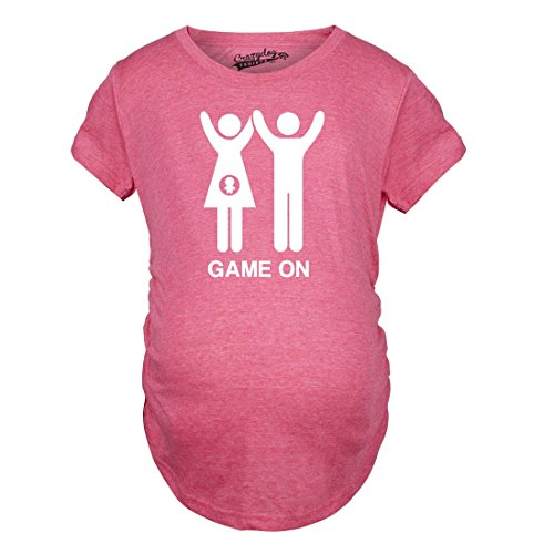 Crazy Dog TShirts - Maternity Game On Couple Tee Expecting Baby Bump Pregnancy Announcement T shirt - Camiseta De Maternidad rosado