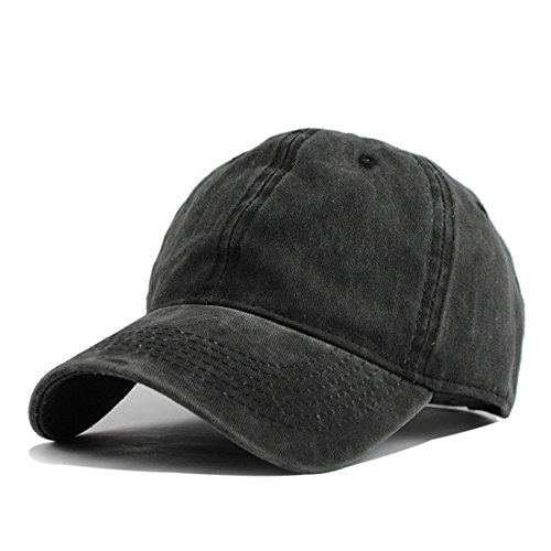 G4S3 Unisex Solid Classic Cotton Adjustable Washed Twill Low Profile Plain Baseball Cap Sport Hat (Black) ()