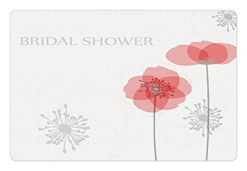 Buds Arrangement - Ambesonne Bridal Shower Pet Mat for Food and Water, Modern Poppy Flower Buds Abstract Shadow Design Floral Arrangement, Rectangle Non-Slip Rubber Mat for Dogs and Cats, Light Grey and Salmon