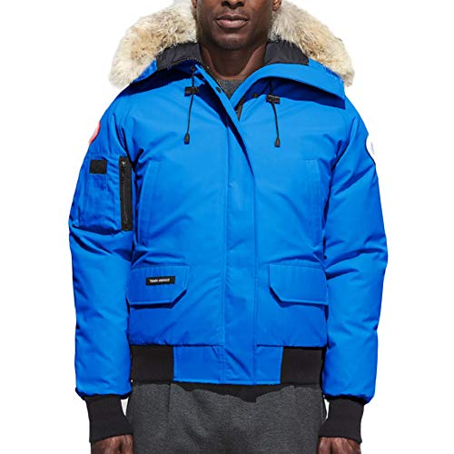 Men's Canada Down Jacket Chilliwack Down Coats Bomber Down Parka (Blue, XL) (Canadian Down & Feather Company Gel Microfibre Duvet)