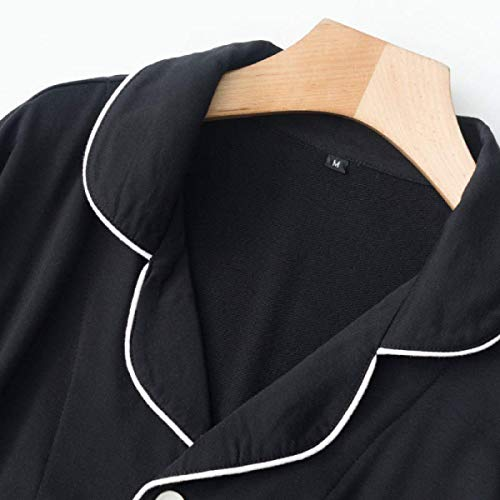 Camison Moda Black Ropa Largo Casuales Mujer Otoño Taille Botonadura Bolsillos Pedazos Solapa Elastische female De 2 Manga Noche Trousers Con qBq7Wr