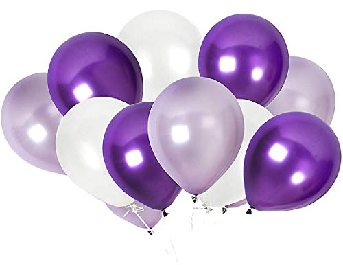 TOSOAR 100 Pack Latex Balloons 12 Inches Party Balloons for Wedding Decoration Birthdays Party Decorations Supplies (Plum Lavender and Lilac Purple and Pearl -