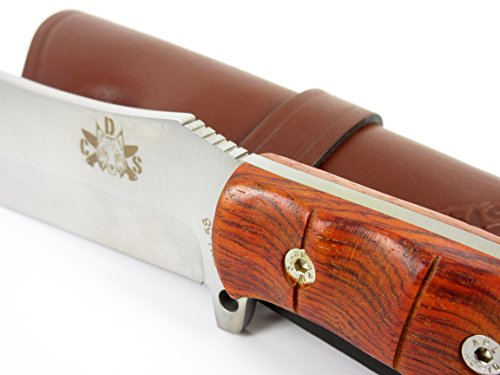 TARTESSUS ONE - Outdoor / Survival / Hunting / Tactical Knife - Cocobolo wood handle, Stainless Steel MOVA-58 - Genuine Leather Sheath. Made in Spain by CDS-Survival (Image #2)