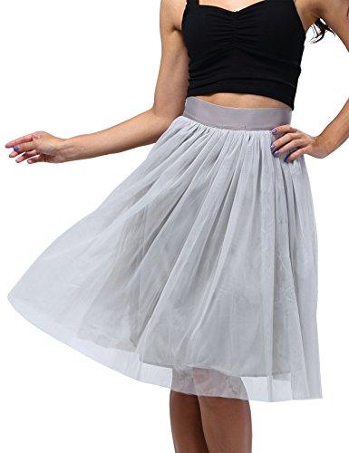 Bepei Women Mech Layer Bow Detailing Elegant Skirt Gray S