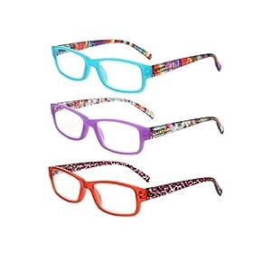 LianSan Designer Light Weight Ladies Readers 3 Pack Rectangular Spring Hinge Reading Glasses Women Vintage Fashion Portable Magnifying Eyeglasses with Case L3710, BU-PL-RD, +2.75 Magnifaction