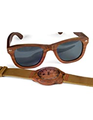 Mens Wood Watch - Wooden Sunglasses - Sandalwood Bezel - Genuine Leather - by Viable Harvest (Gift Set)