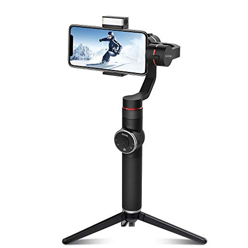 ZOMEI V5-New 3-Axis Handheld Gimbal Stabilizer w/Focus Pull & Zoom for iPhone Xs Max Xr X 8 Plus 7 6 SE Android Smartphone Samsung Galaxy S9+ S9 S8+ S8 S7 S6 Q2 Edge Black