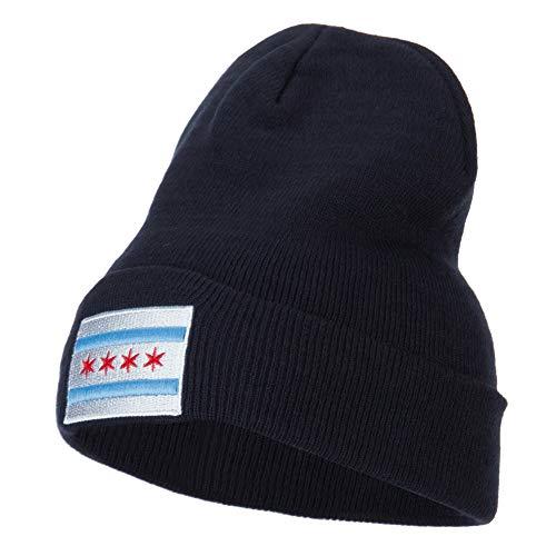 (e4Hats.com Chicago Flag Embroidered Long Beanie - Navy OSFM)