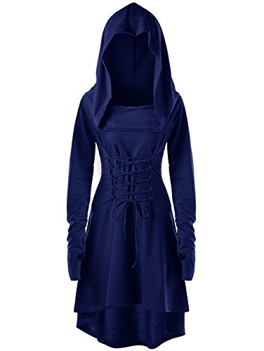 Gemijack Womens Renaissance Costumes Hooded Robe Lace Up Vintage Pullover High Low Long Hoodie Dress Cloak for $<!--$34.99-->