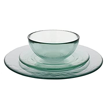 French Home GRP217 Recycled Glass Urban Dinner Set, Clear