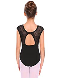Arshiner Girls' Cap Sleeve Back Keyhole Leotard