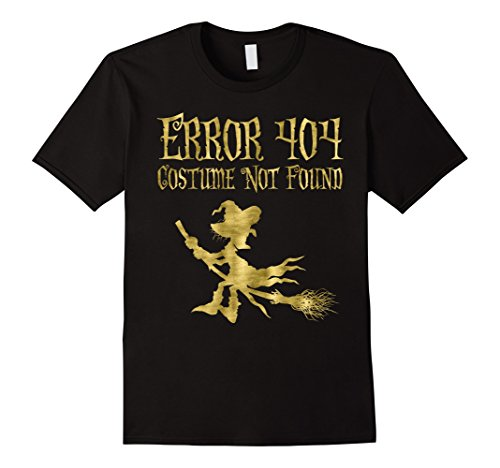 Error 404 Costume Not Found Image (Mens Witch Halloween Shirt Error 404 Faux Gold Medium Black)