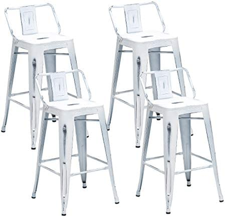 Alunaune 30 Metal Bar Stools Set of 4 Counter Height Bar Stools with Back Kitchen Island Dining Chair Industrial Patio Stool Indoor Outdoor-30inch Distressed White