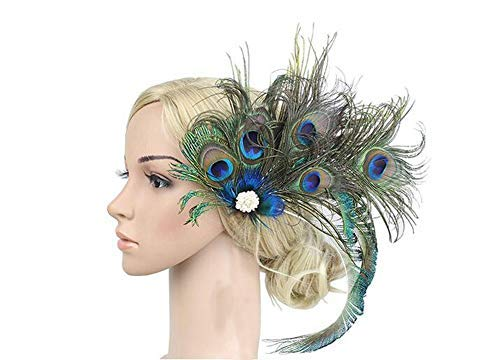 Women Girls Peacock Feather Costume Hair Clip Flapper Headpiece Hat Accessory Retro Wedding Carnival Party Hairpin ()