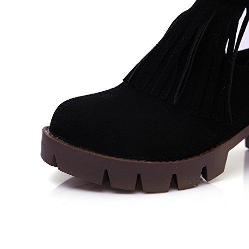 Imitated Buckles Leather BalaMasa Tassels Metal Boots Girls Black Studded Rhinestones wxqIBvYU