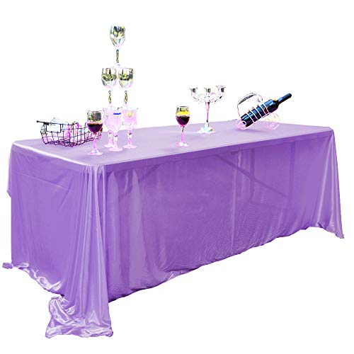 (PENGSHE Resilient Tablecloths Rectangular Shining Table Cover Easy Care Wrinkle Resistant Table Cloth for Buffet Table Party Wedding Holiday Dinner (Lavender Purple, 60