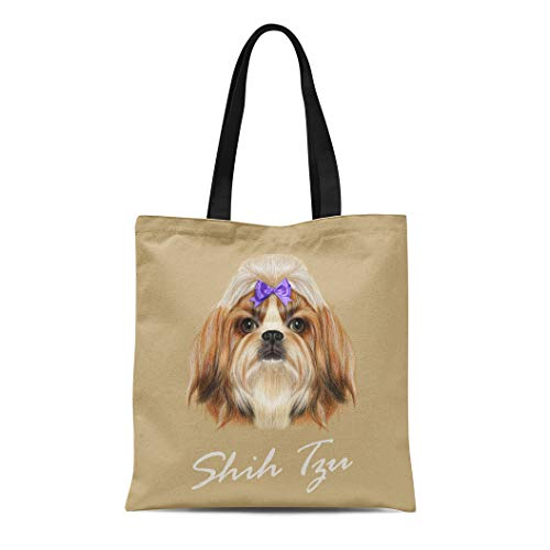 (Semtomn Cotton Canvas Tote Bag Portrait of Shih Tzu Dog Domestic Toy Breed Tricolor Reusable Shoulder Grocery Shopping Bags Handbag Printed)
