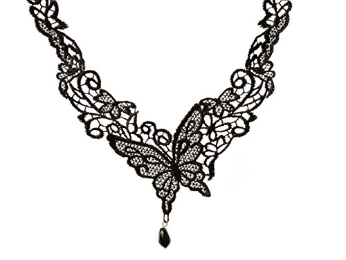 [Adorable Woman Black Butterfly Lace Lolita Sexy Collar Necklace] (White Trash Lady Costume)