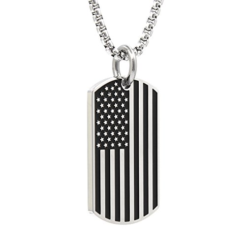 Usa Flag Dog Tag (Silver Stainless Steel USA American Flag Dog Tags Pendant Necklace for Men Chain 24'')