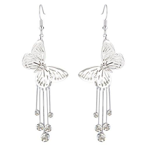 BriLove Women's Wedding Elegant Hook Dangle Earrings with Crystal Hollow Butterfly Long Filigree Clear Silver-Tone (Rhinestone Earrings Butterfly)