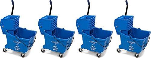 Carlisle 3690414 Commercial Mop Bucket With Side Press Wringer, 35 Quart Capacity, Blue (4-(35 Quart Capacity))