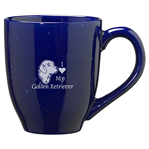 (LXG, Inc. 16-ounce Ceramic Coffee Mug- I love my Golden Retriever-Blue)