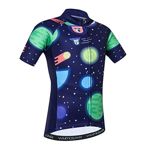 - Cycling Jersey Kids Short Sleeve Children Cartoon Road Mountain Bike Shirt Top Girls Boys Breathable Moon Blue Size S
