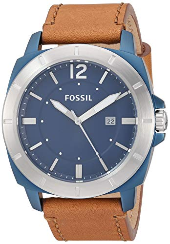 Fossil Watches Men's Stainless Steel Quartz Leather Strap, Brown, 24 Casual Watch (Model: BQ2323)