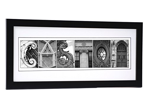 Creative Letter Art? Personalized 12 by 26 inch Framed Name Sign with Black & White Architectural Metal Alphabet Photographs including Self Standing Frame