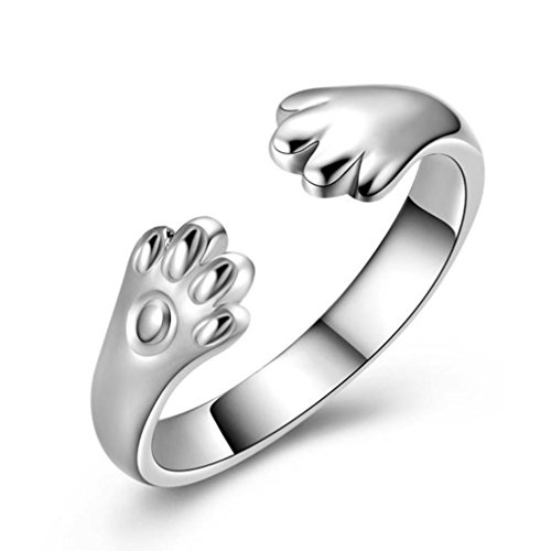 Animal Rings,ZYooh Women Cute Cat Paw Open Adjustable Rings Jewelry Gift (Silver, Available)