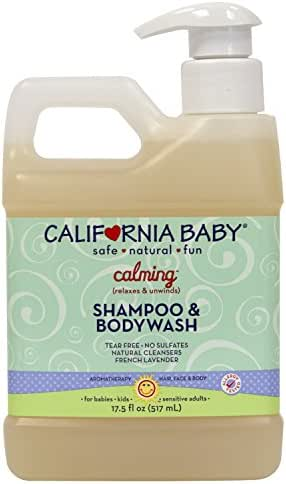 California Baby Calming Shampoo and Body Wash - Hair, Face, and Body | Gentle, Fragrance Free, Allergy Tested | Dry, Sensitive Skin, 17.5 Ounces.