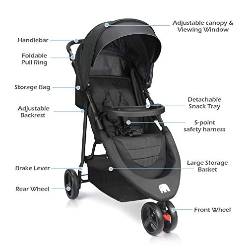 41S626TEmlL - Meinkind Baby Stroller, Foldable Jogger Stroller Lightweight Baby Strollers 3-Wheels Running Stroller Travel Stroller With Canopy, Snack Tray, 5-Point Safety Belt, Storage Basket, Up To 33lbs Toddler
