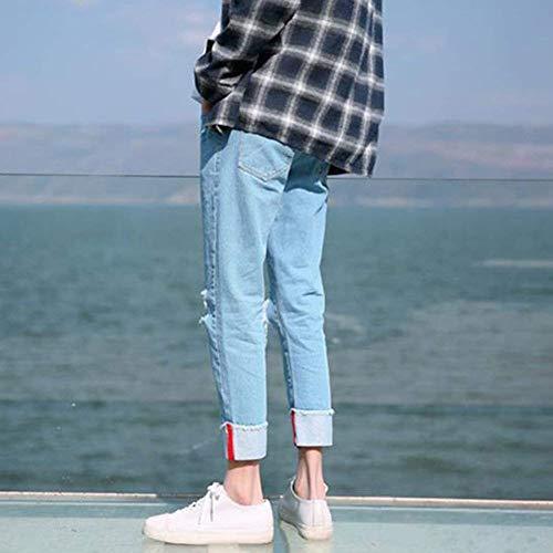 Strappato Dritti Matita Adelina Pantaloni Jeans Fori Denim Slim Distrutti Harlan Uomo Hellblau Buco Abbigliamento AAat8q