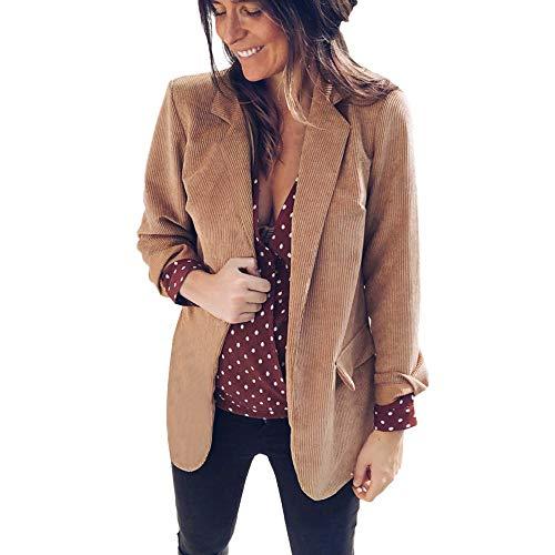 (Orangeskycn Womens Business Blazer Ladies Open Front Collared Corduroy Suit Jacket Yellow)