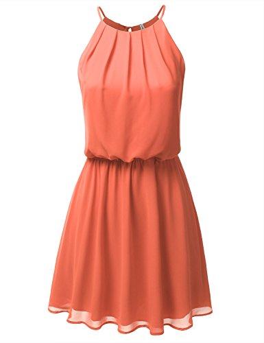 JJ Perfection Women's Sleeveless Double-Layered Pleated Mini Chiffon Dress Coral M