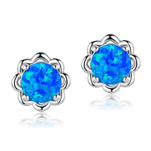 Flower Stud Earrings Blue Fire Opal Birthstone White Gold Platinum Plated for Women Girls