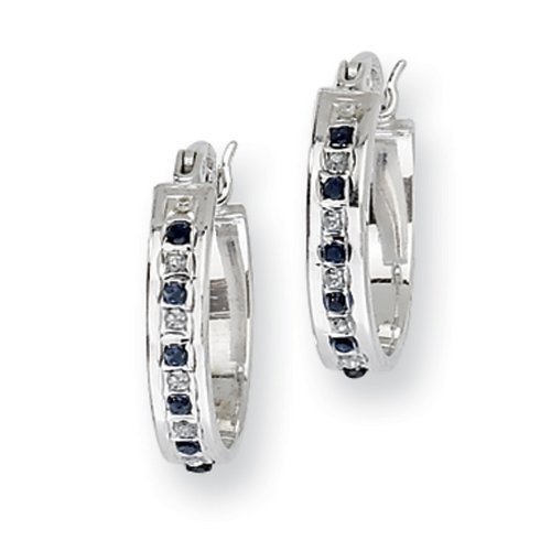 IceCarats® Designer Jewelry Sterling Silver Platinum-Plated Diamond Sapphire Oval Hoop Earring