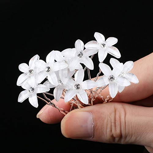 Austrian Crystal Simulate - 10Pcs/Lot Wedding Crystal Resin Flower Hair Pins For Silver Bridal Hair Accessories Women Pearl Hair Clips Wedding Hair Jewelry xiaohua White